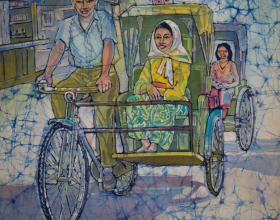 6-Trishaw, 1974 57cm x 50cm Batik
