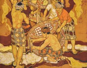 9-Wau Series, 1983 Batik 94cm x 105cm