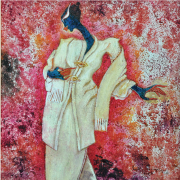 2-Waiting for the lover in Kebaya Labuh Songket, 2011 RM 3,850.00-SOLD | Oil on canvas | 31 x 31 cm