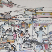 1-Market Scene in Penang, 1984 RM 6,050.00-SOLD | Ink and watercolour on paper | 40 x 65 cm
