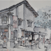 5-Hawker Scene, 1978 RM 10,450.00-SOLD | Ink and watercolour on paper | 45 x 70 cm