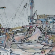 6-Boat Yard, 1982 RM 4,730.00-SOLD | Watercolour and Chinese ink on rice paper | 44 x 69 cm
