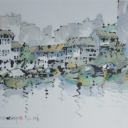 7-Singapore River, 1977 RM 12,100.00-SOLD | Watercolour and Chinese ink on rice paper | 44 x 69 cm