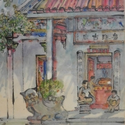 9-Auction IX Chinese Temple in Penang, 1979 RM 8,800.00-SOLD | Chinese ink and watercolour on paper | 65.5 x 44.5 cm