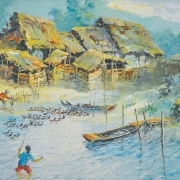 1-Feeding Ducks, 1968 RM 7,150.00-SOLD | Oil on canvas | 55 x 75 cm