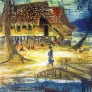 1-West Coast Fishing Village - Sunset, 1990s RM .6,60000-SOLD | Batik | 60 x 38 cm