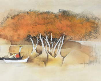 Tay-Bak-Koi-1981-Malay-figures-in-boat-beneath-trees-1981-Watercolor-on-rice-paper-60-X-98-cm-scaled