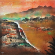 4-Auction XI Mountain Village, Undated RM 10,080.00-SOLD | Mixed media on canvas | 59 x 59 cm