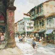 China Town, Smith Street, 1970s RM 19,600.00-SOLD | Watercolour on paper | 72 x 108 cm