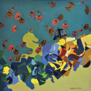 2-Moving Horses, 2000 RM 3,850.00-SOLD | Mixed media on canvas | 79 x 79 cm
