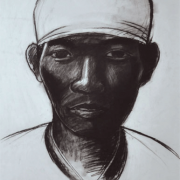 """1-RM 13,200.00-SOLD Wong Hoy Cheong """"Indian Rubber Tapper"""" (1996) Charcoal on paper 75 x 57 cm RM 7,000 - RM 12,000"""