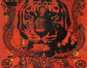 15-Stephen Menon, Alphabets Series No. 2 - T for Tiger, 2013, Acrylic, screenprint on paper, 76 x 51 cm rm 12,000