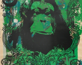 16-Stephen Menon, Alphabets Series No. 4 - O for Orang Utan, 2013, Acrylic, screenprint on paper, 76 x 51 cm rm 12,000
