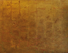 3-Frank Woo, Gold Wave II, 2006, Acrylic and gold leaf on canvas, 91.5 x 122 cm