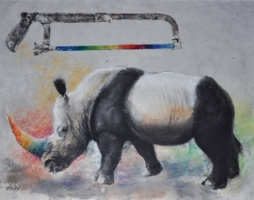 9-Long Thien Shih, Pandarhino, 2013, 55 x 75 cm, Mixed media on paper laid on board RM 9,000
