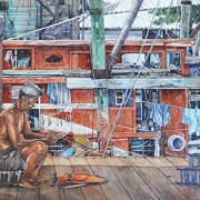 Mending Net, 2005 RM 4,785.00-SOLD | Watercolour on paper | 54 x 73 cm