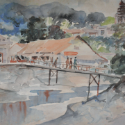 1-RM 12,100.00-SOLD | Watercolour on paper | 36 x 55 cm Yong Mun Sen Landscape with bridge 1953 Watercolor 55 x 36 cm