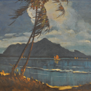 2-RM 19,800.00-SOLD Yong Mun sen, Penang Seascape with Kedah Peak, Undated, 55 x 64cm, Oil on canvas