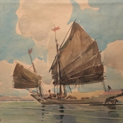 Lot-43-Yong-Mun-Sen-Junk-Sailing-1947-Watercolour-on-paper-26.5-x-36.5cm