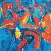 12-Siri Tari XII, 1992 RM 61,600.00-SOLD | Oil on canvas | 122 x 122 cm