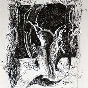 "13-RM 4,400.00-SOLD LOT 26 Yusof Ghani ""Siri Wayang"" (1998) Calligraphy pen on paper 26.5 x 21 cm RM 4,500 - RM 7,500"