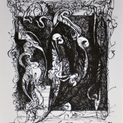 "14-RM 4,400.00-SOLD LOT 27 Yusof Ghani ""Siri Wayang"" (1998) Calligraphy pen on paper 26.5 x 21 cm RM 4,500 - RM 7,500"