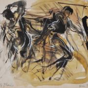 17-RM 8,800.00-SOLD Lot 2 Yusof Ghani, Siri Tari Sketch III, 1990, Mixed media on paper 28 x 34 cm