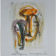 8-Siri Topeng II, 1995 RM 3,300.00-SOLD | Mixed media on paper | 23 x 16 cm