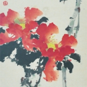 2-Flowers and Birds, 1978 RM 66,000.00-SOLD | Chinese ink and watercolour on paper | 83.5 x 30 cm