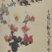 """4-RM 57,760.00-SOLD Zhao Shao'ang """"Flowers and Birds"""" (1978) 83.5 x30 cm RM 48,000 - RM 80,000"""