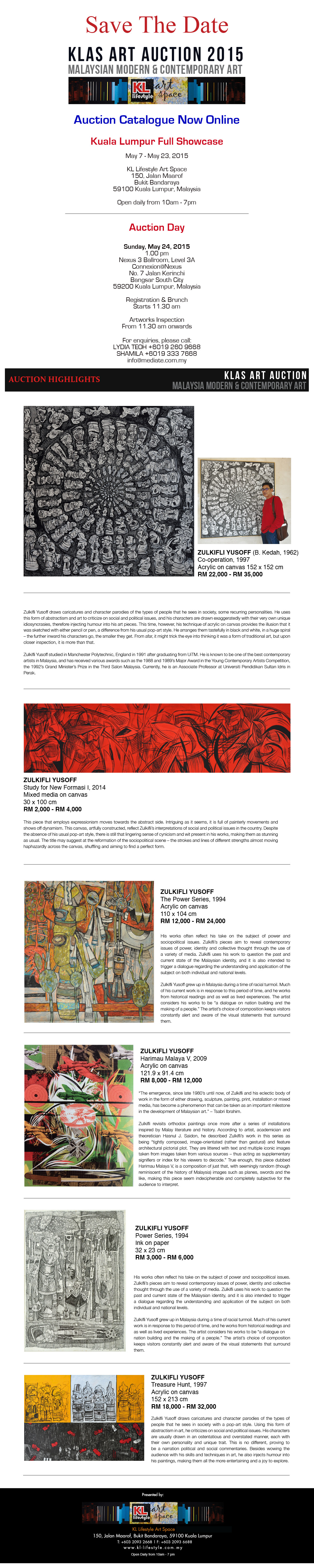 KLAS ART AUCTION EDITION XV CATALOGUE NOW ONLINE